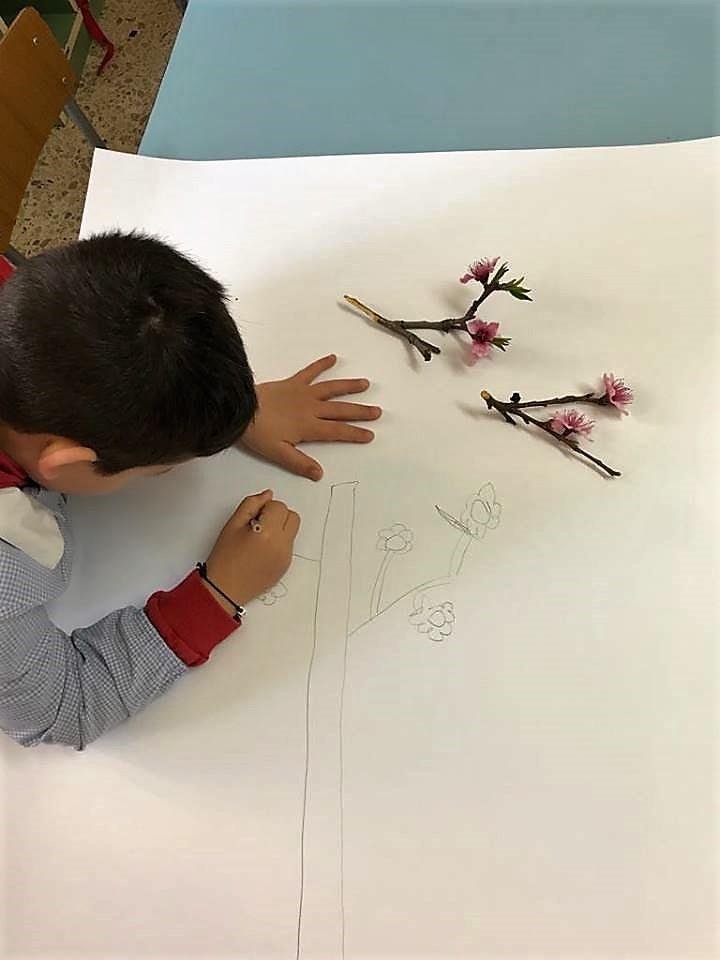 Alcuni bambini che amano il disegno libero disegnano liberamente, copiando dal vero i rami in fiore..