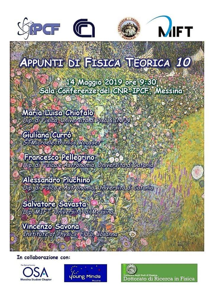 """""""Appunti di Fisica Teorica 10"""" evento presso CNR di Contrada Papardo"""