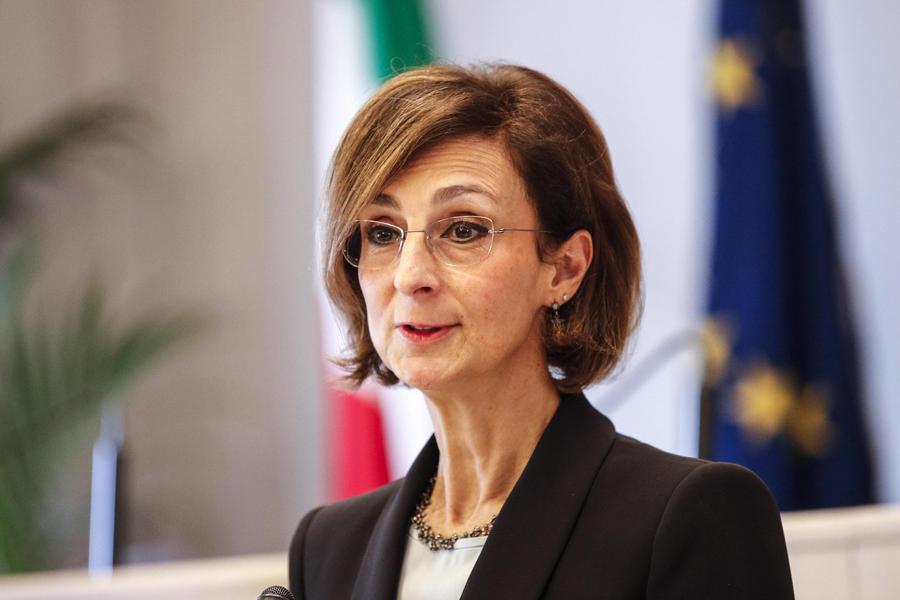Marta Cartabia durante la conferenza stampa dopo essere stata eletta alla carica di presidente della Corte costituzionale, Roma 11 dicembre 2019. ANSA/GIUSEPPE LAMI