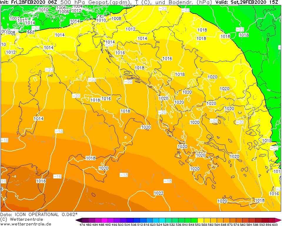 Previsioni meteo per le giornate di sabato 29 febbraio e domenica 1 marzo
