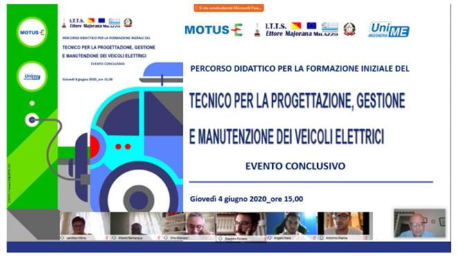 """Tecnici per la progettazione, gestione e manutenzione dei veicoli elettrici"""" al Majorana di Milazzo con la collaborazione del Dipartimento di Ingegneria di Messina e Motus-E"""